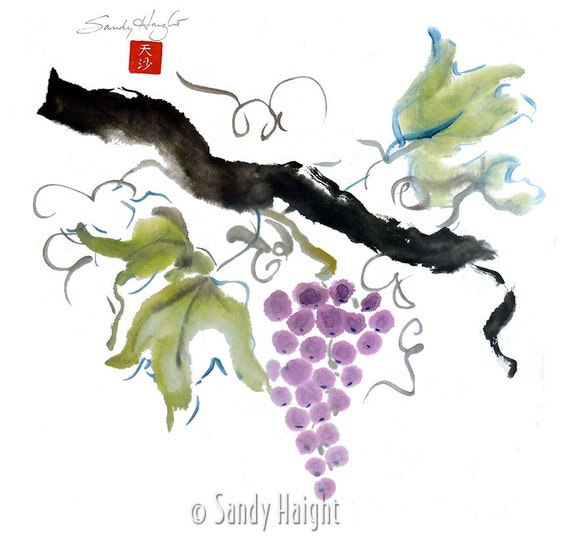 Original Sumi Brush Painting, Grapes, art, decor, vineyard, fruit, nature, wine, cook, gift, ink, watercolor, Japanese, color sumi, unframed