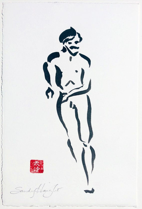 Original Sumi Figure Painting, 25% OFF SALE! art, male, nude, frontal, black & white, ink, wall art, life drawing, home decor, unframed, 2D