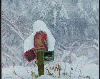 Original acrylic painting on stretched canvas, small art, country road, mailbox, landscape, rural, winter, white, snow, rustic, colorful art