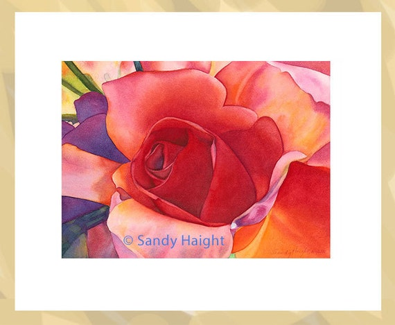 Original Framed Watercolor painting, Deep Heart, rose, bouquet, red, flower, floral, home decor, wall art, close up, Mother's day, Valentine