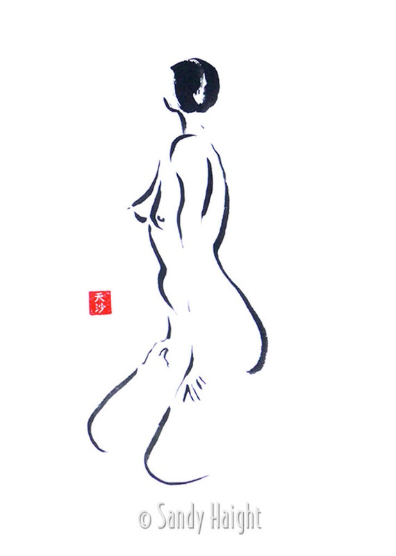 Original Sumi Painting, 25% OFF SALE, black & white, brush, ink, female, woman, figure, nude, frontal, twist, wall art, home decor, unframed