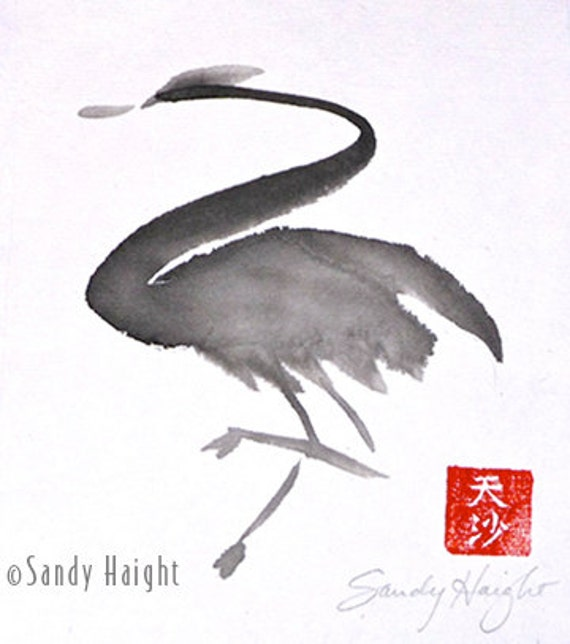 Original Sumi Painting,Heron, Bird, Waterfowl, Sumi-e, Black & White, Ink, Painting, Minimalist, wall art, home decor, Japanese, brush,  ink