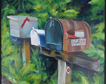 Original acrylic painting on stretched canvas, small art, country road, mailboxes, neighbors, landscape, foliage, rustic, green, colorful