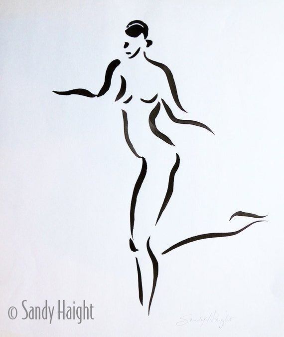 Original Sumi Painting, 25% Off SALE! Tango, Black & White, Nude, woman, Female, Ink, Figure, Life Drawing, unframed, Wall Art, Home Decor