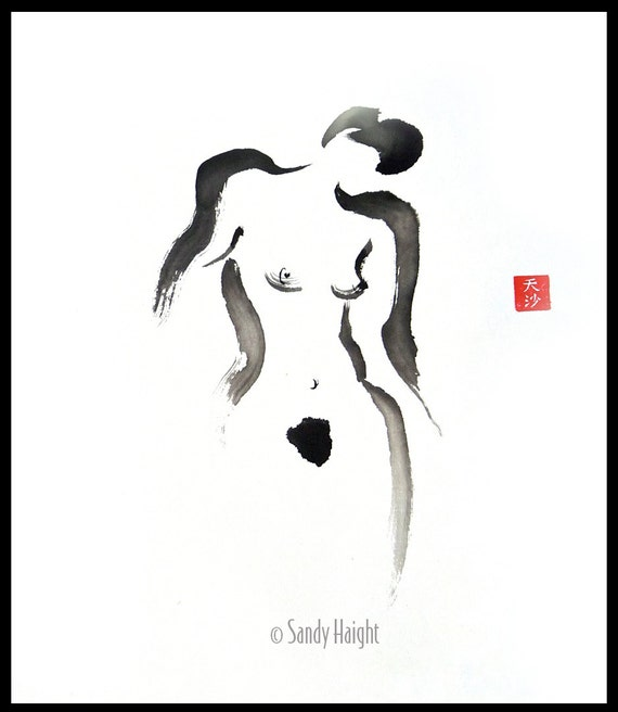 Original Framed Sumi Figure Painting, 25% OFF SALE, brush & ink, black/white, female, nude, frontal, home decor, gift, Japanese