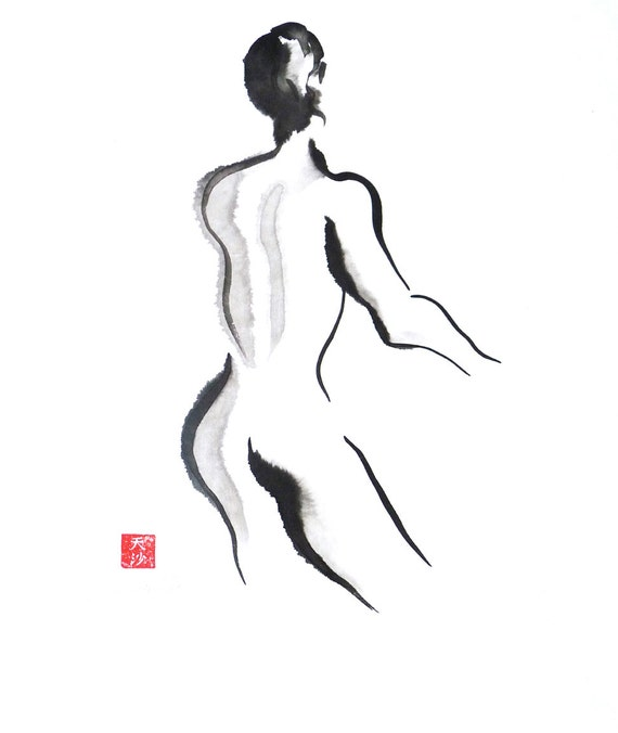 Original Sumi Figure Painting, 25% OFF SALE! art, black & white, female, nude, woman, back, life drawing, wall art, gift, home decor, ink