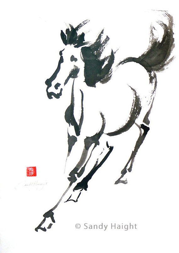 Original Sumi Brush Painting, Running Horse, framed art, art, home decor, black & white, brush and ink, painting, Asian, animal, wall art