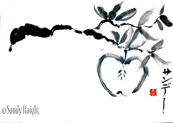 Original Sumi Painting, Apple Branch, art, fall, harvest, seeds, Japanese, ink, black & white, fruit, orchard, home decor, unframed, gift,2D