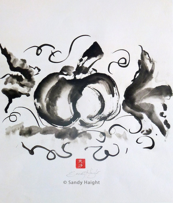 Original Sumi Brush Painting, Pumpkin, fall, autumn, harvest, Halloween, vegetable, garden, gift, black & white, ink, Japanese, unframed art