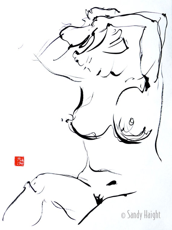 Original Sumi Figure Painting, 25% OFF SALE! life drawing, female, nude, woman, black & white, brush and ink, gift, home decor, large art