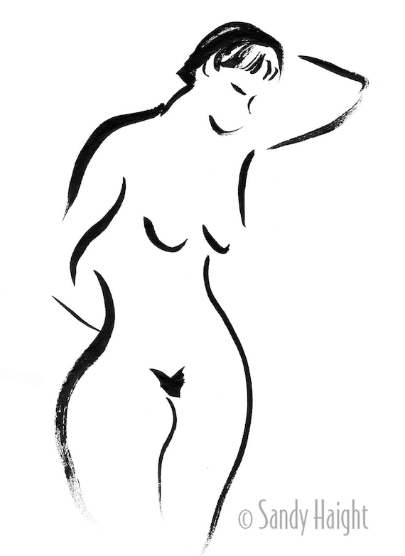 Original sumi figure drawing-25% OFF SALE! female, nude, frontal, brush & ink, black and white, life drawing, wall art, home decor, Japanese