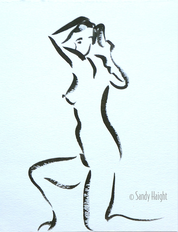 Original Sumi Painting, 25% OFF SALE! Black & White, Figure, Nude, Woman, Female, Life, Drawing, Wall Art, Home Decor, Brush, Ink, unframed