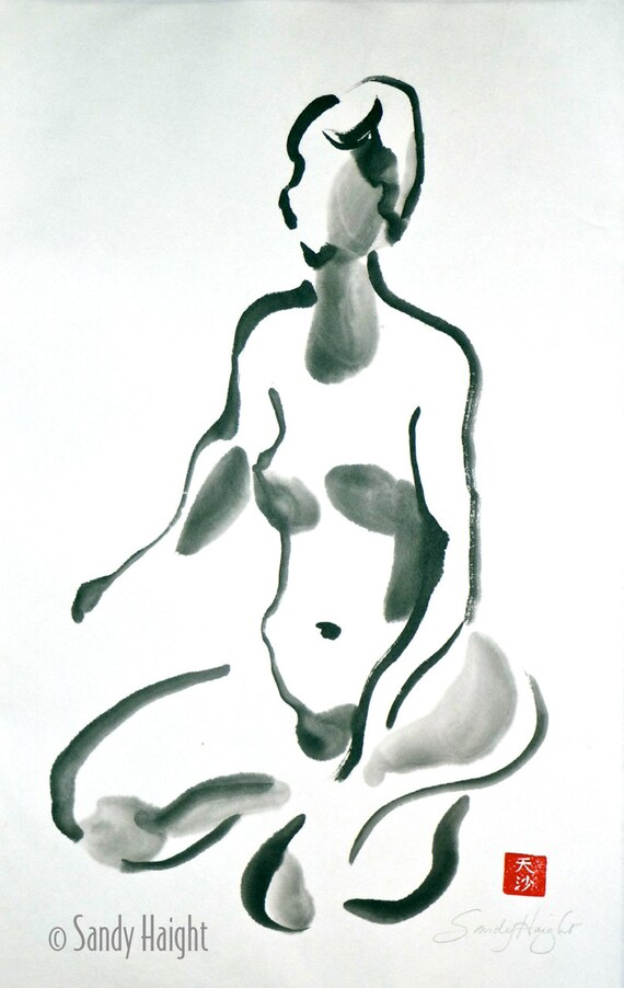 Original Sumi Figure Painting, 25% OFF SALE! LIfe drawing, female, figure, woman, nude, black & white, brush and ink, gift, meditation, 2D