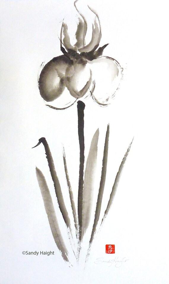 Original Sumi Painting, Framed, Big Iris, art, decor, Japanese, brush, ink, black & white, garden, gift, flower, wall art, flora, spring, 2D