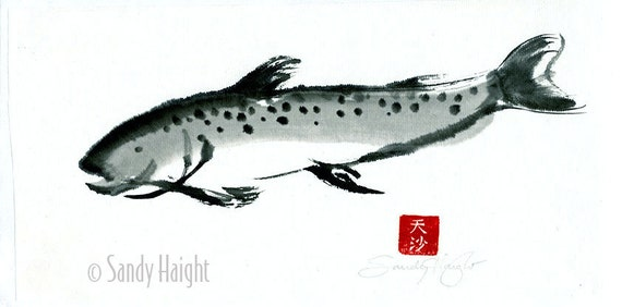 Original Sumi brush Painting,trout,black & white,art,wall art,salmon,fish,fisherman,gift,river,lake,brush and ink,unframed, home decor, wall