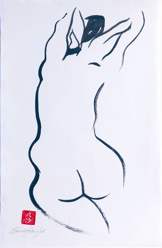 Original Sumi Figure Painting, 25% OFF SALE, unframed, black & white, female, figure, woman, frontal, nude, brush, ink, wall art, home decor
