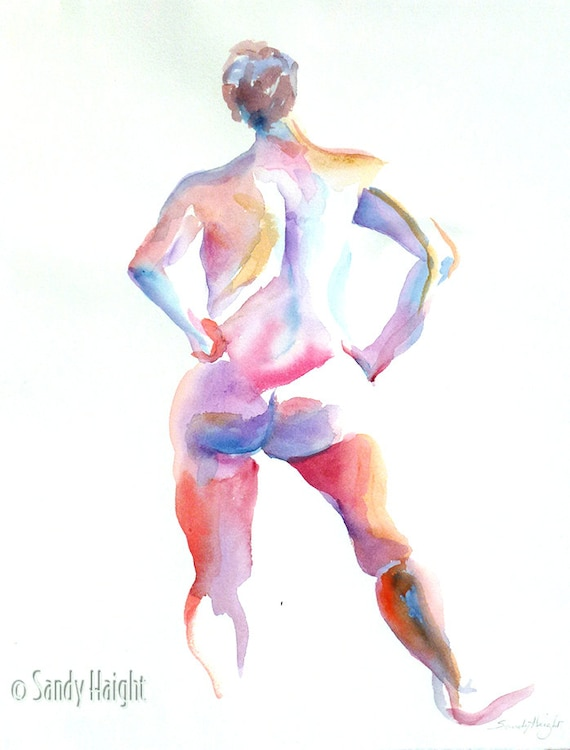 Original Watercolor, 25% OFF Sale! female, nude, back, figure, painting, model, life, standing, unframed, home decor, wall art, strong woman