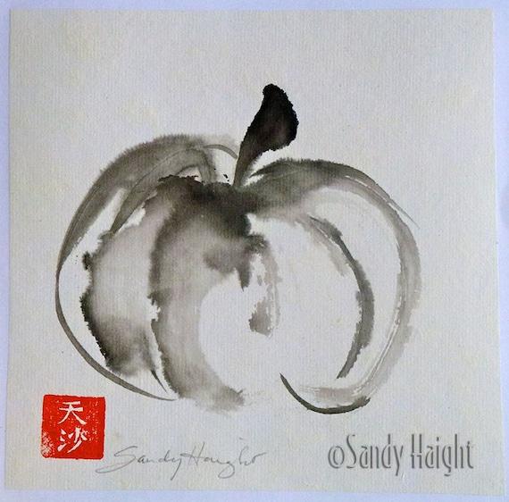 Original Sumi Painting, Pumpkin, fall, harvest, Japanese brush art, Asian, black & white, ink, squash, gift, home decor, wall art, unframed