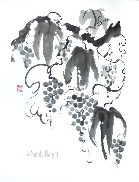 Original Sumi Painting, Grapes, Wine, Vineyard, Kitchen, Cook, Black and White, Brush & Ink, Wall Art, Home Decor, Japanese, Asian, gift