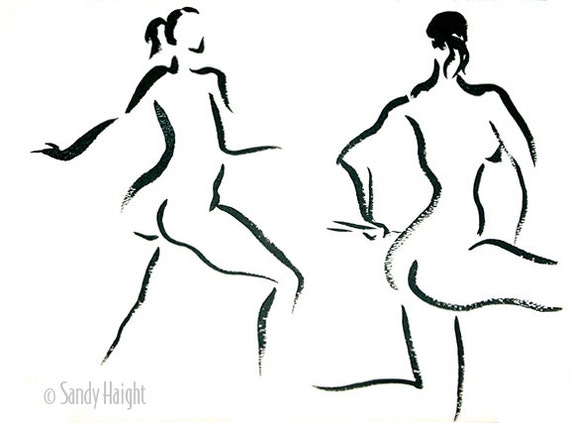 Original sumi figure painting, 25% OFF SALE! life drawing, black & white, nude, females, brush, ink, 2 women, back view, home decor,wall art