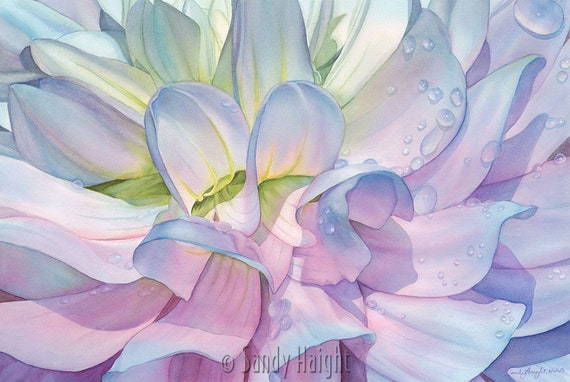 Original Framed Watercolor painting, art, dahlia, flower, floral, abstraction, garden, purple, pink, blue, water drops, home decor, wall art