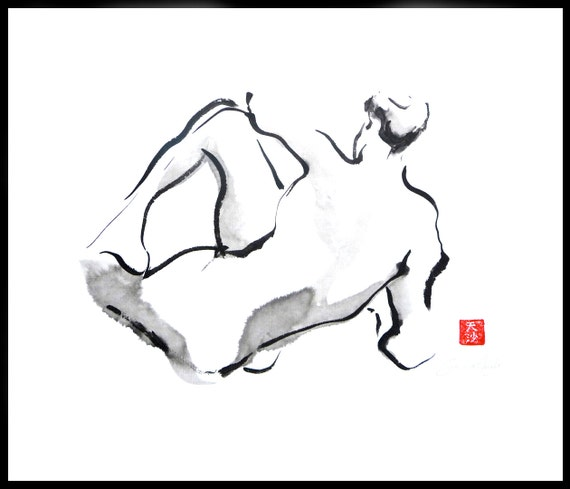 Original Sumi Figure Painting, framed, 25% OFF SALE! male, nude, back, black & white, wall art, home decor, gift, brush and ink, live model
