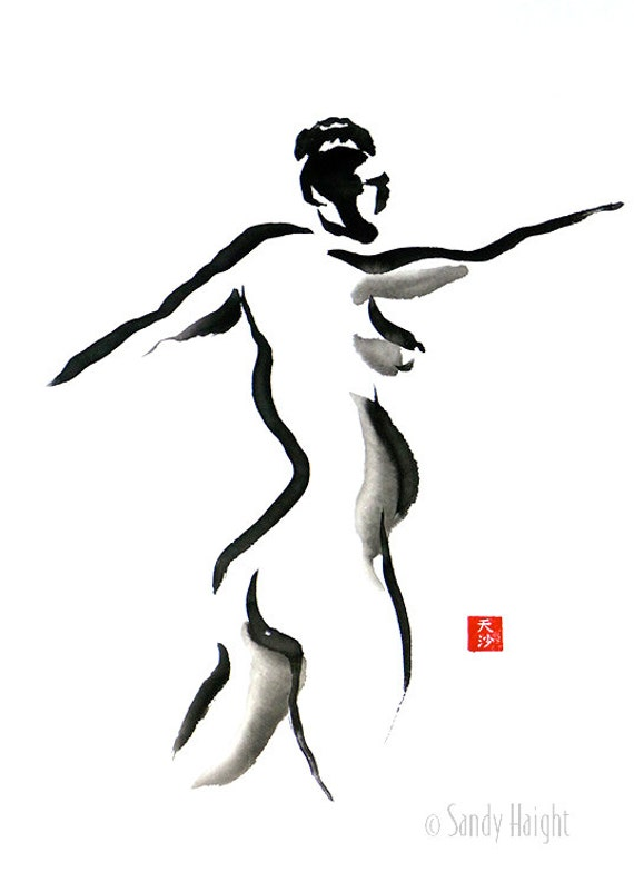 Original Sumi Painting, 25% OFF SALE! brush and ink, black & white, nude, female, woman, figure, back, home decor, wall art, gift, Spiraling