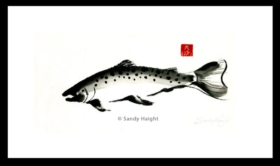 Original Framed Sumi Brush Painting, Bull Trout, fish, salmon, black & white, nature, home decor, fisherman, gift, fishing, wall art, river