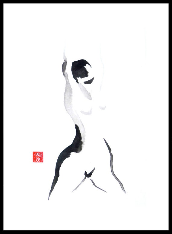 Original Framed Sumi figure painting-25% OFF SALE! life drawing,black & white,nude, female, brush, ink, woman, frontal, home decor, wall art