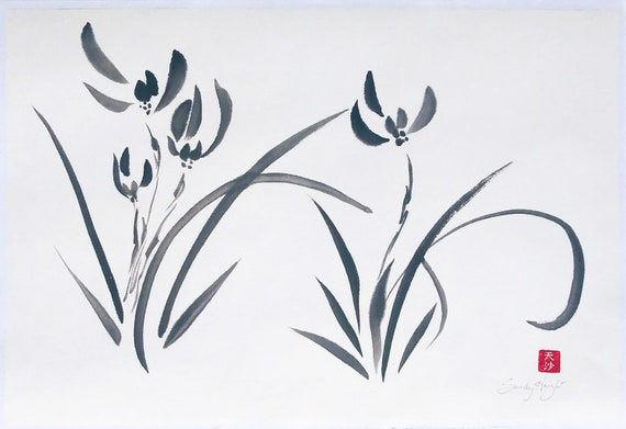 Original Sumi Painting, Wild Orchids, plant, flower, Japanese, brush and ink, black&white, garden, botanic, home decor, unframed, wall art