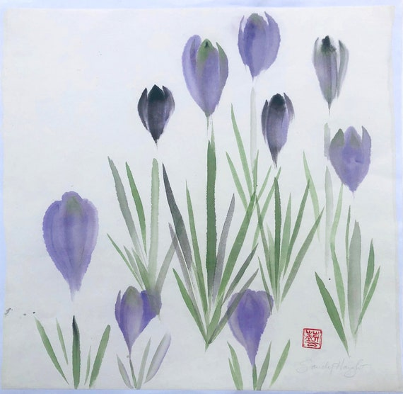 Original Sumi color painting, crocuses, spring, garden, purple, green, flowers, floral, art, home decor, interior design, gift, unframed, 2D