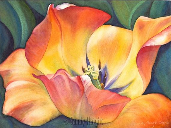 Original watercolor painting, frame, tulip, floral, open flower, bloom, yellow, orange, green, spring, wall art, home decor, realism, gift