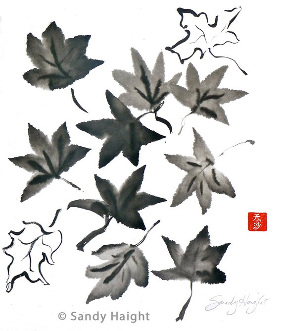 Original Sumi Brush Painting, Leaves, Maple, Fall, Autumn, Home Decor, Wall Art, art, Sumi-e, Gift, black & white, brush and ink, unframed