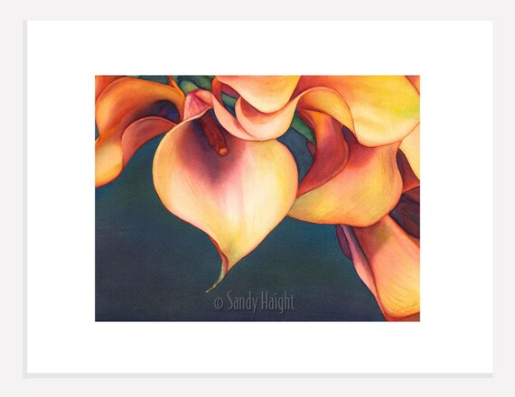 Original Watercolor- Calla Lilies, painting, art, matted, unframed, home decor, wall art, flowers, floral, garden, gift, bouquet, orange, 2D