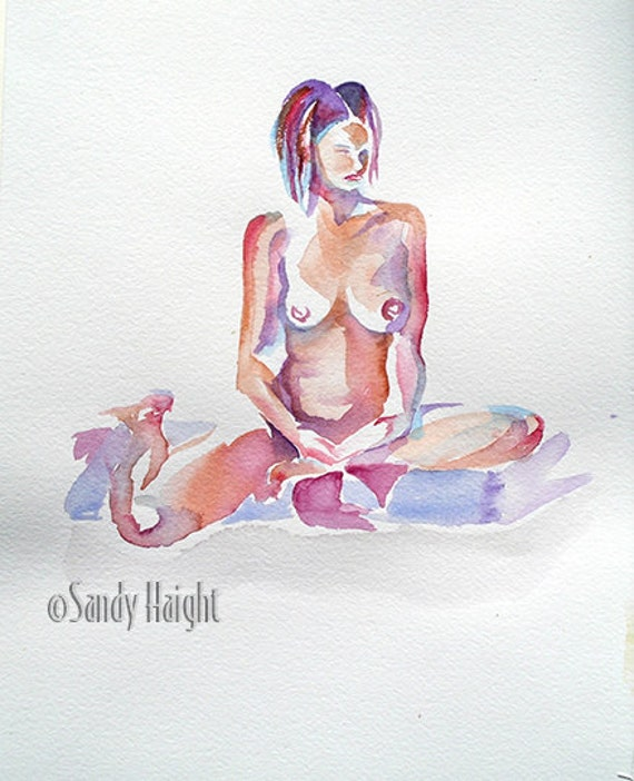 Original Watercolor, 25% OFF SALE! art, nude, female, frontal, seated, figure, painting, life drawing, model, wall art, home decor, unframed