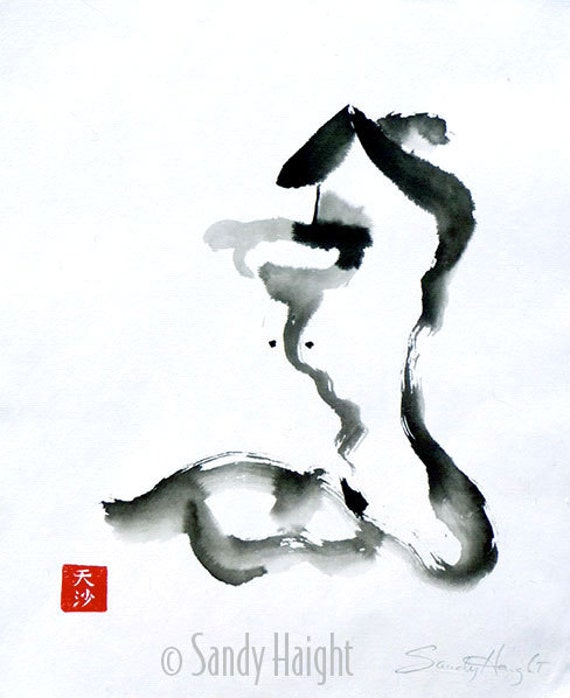 Orignal Sumi Painting, 25% OFF SALE! Life Drawing, female, nude, woman, figure, profile, black and white, brush & ink, home decor, wall art