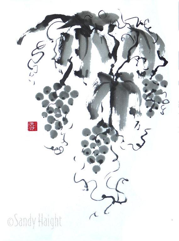 Original Sumi Brush Painting - Grapes, vine, Black & White, Wine, Vineyard, Japanese, Brush, Ink, Expressive, kitchen, Wall Art, Home Decor