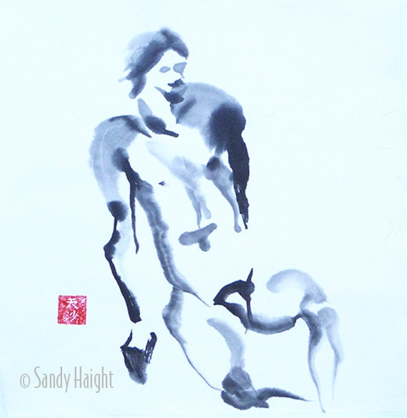 Original Sumi Painting, 25% OFF SALE! male, nude, frontal, man, shoulders, wall art, home decor, unframed, black & white, brush, ink, gift