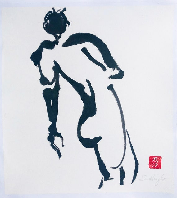 Original Sumi Figure Painting, 25% OFF SALE! art, male, nude, back view, black & white, ink, wall art, life drawing, home decor, unframed