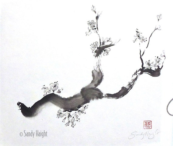 Original Sumi Painting, Plum Blossom Branch, black & white, spring, tree, blooms, art, decor, painting, wall art, Japanese, unframed, brush,