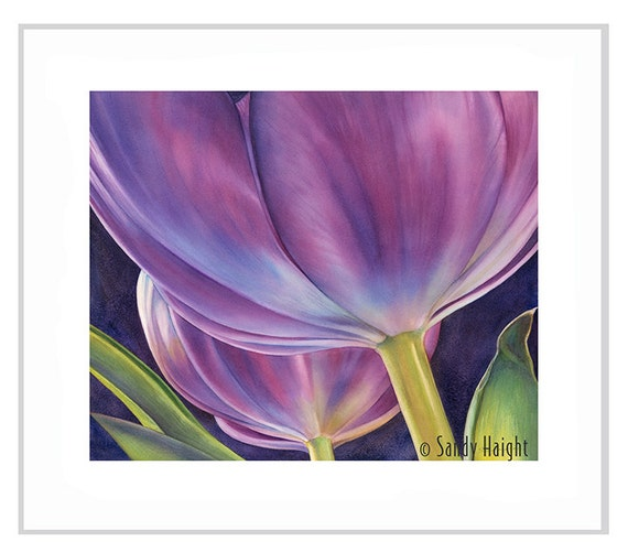 Original Framed Watercolor Painting-tulip, purple, flower, spring, bouquet, floral, purple, wall art home decor, contemporary , goblets, art