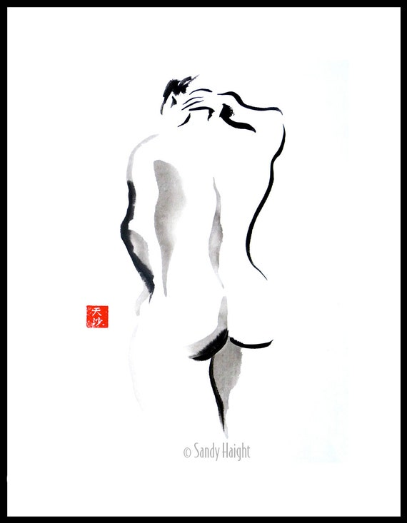 Original Sumi figure painting, 25% OFF SALE, frame, brush & ink, nude, back, female, woman, black 'n white, home decor, wall art, gift, life