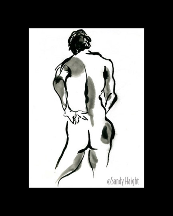 Original sumi figure painting, 25% OFF SALE! framed, black & white, nude, male, back, life, brush, ink, wall art, home decor, Japanese, 2D