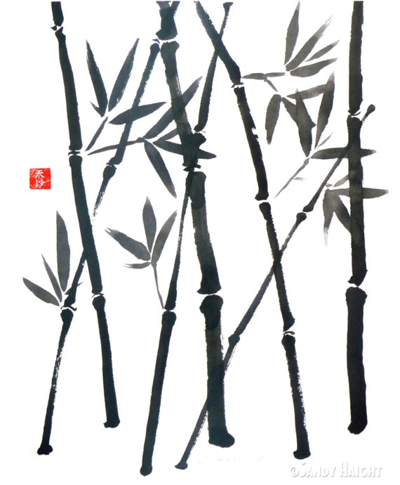 Original Sumi Brush painting, Bamboo, Asian, Japanese, wall art, home decor, black & white, red chop, plant, botanical, leaves, garden, gift