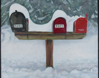 Original acrylic painting on stretched canvas, small art, country road, mailboxes, landscape, rural, winter, white, snow, rustic, colorful