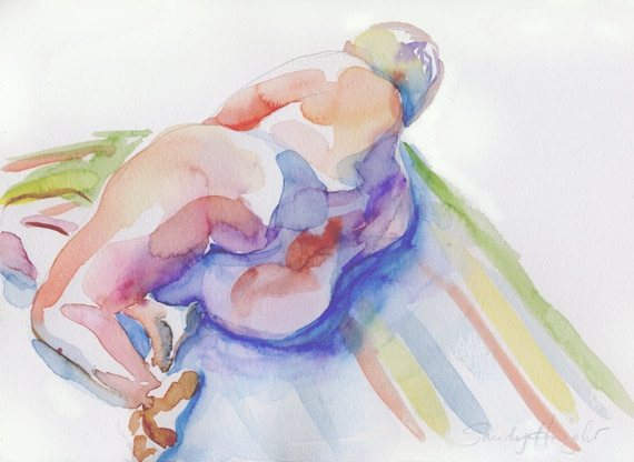 Original Watercolor, 25% OFF SALE! nude, art, female, reclining, butt, figure, painting from life, model, wall art, home decor, unframed