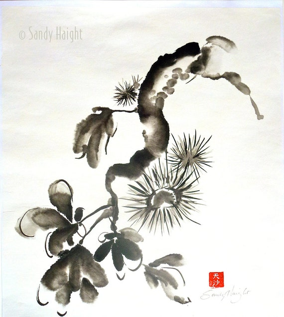 Original Sumi Brush Painting, chestnuts, art, black & white, unframed, Japanese style, brush and ink, home decor, wall art, sumi-e, Asian