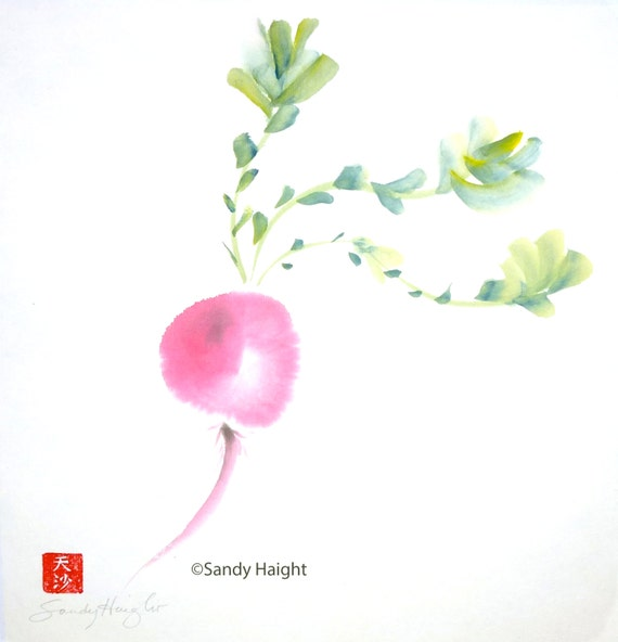 Original Sumi Painting, Radish, unframed, art, red, vegetable, food, plant, home decor, kitchen art, wall, sumi-e watercolor, cook, gift