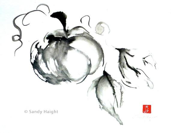 Original Sumi Brush Painting, Harvest Pumpkin, squash, fall, autumn, garden, gift, black & white, ink, Japanese, wall art, decor, unframed