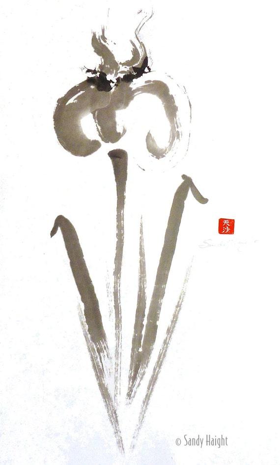 Original Sumi Painting, Big Iris 2, white mat, flower, garden, gift, spring, home decor, art, black and white, unframed, sumie, wall art, 2D